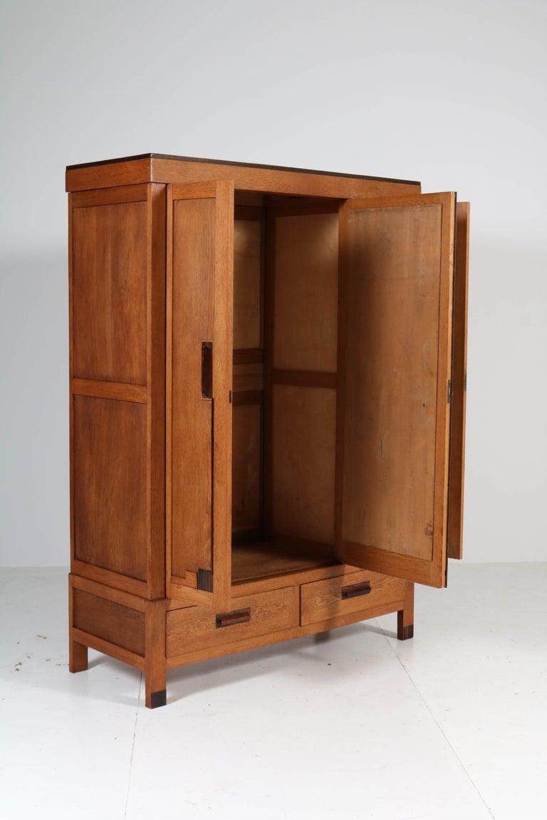Oak Art Deco Haagse School Armoire or Wardrobe, 1920s For Sale 2