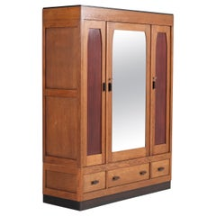 Oak Art Deco Haagse School Armoire or Wardrobe, 1920s