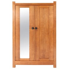Oak Art Deco Haagse School Armoire or Wardrobe by Hendrik Wouda for Pander