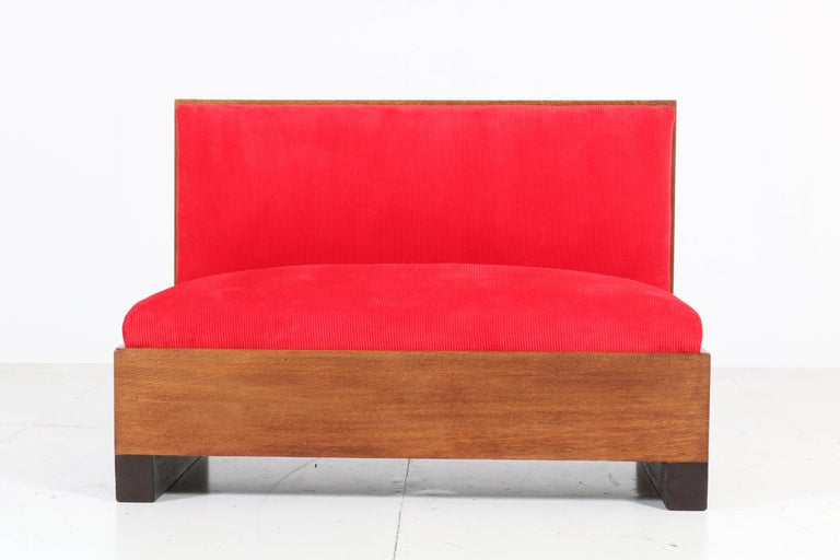 Oak Art Deco Haagse School Bench or Sofa by Willem Penaat for Metz & Co, 1930s For Sale 5