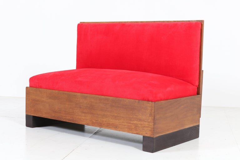 Fabric Oak Art Deco Haagse School Bench or Sofa by Willem Penaat for Metz & Co, 1930s For Sale