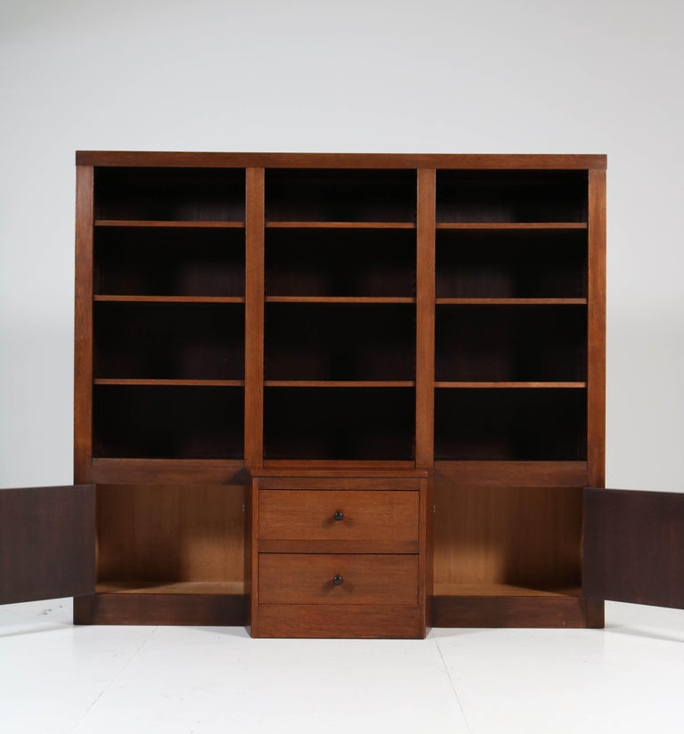 Early 20th Century Oak Art Deco Haagse School Bookcase, 1920s For Sale
