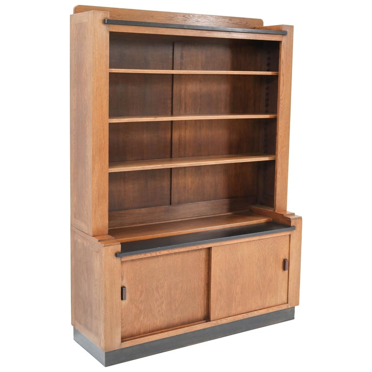 Oak Art Deco Haagse School Bookcase by Cor Alons for L.O.V. Oosterbeek, 1920s For Sale