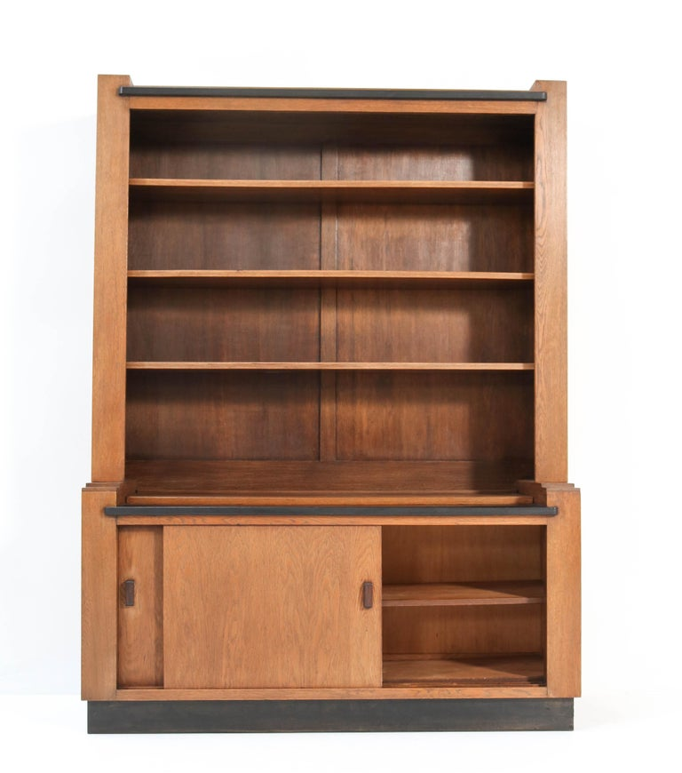 Macassar Oak Art Deco Haagse School Bookcase by Cor Alons for L.O.V. Oosterbeek, 1920s For Sale