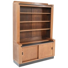Oak Art Deco Haagse School Bookcase by Cor Alons for L.O.V. Oosterbeek, 1920s