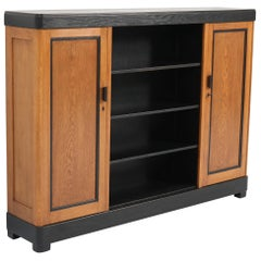 Oak Art Deco Haagse School Bookcase by Frits Spanjaard for L.O.V. Oosterbeek