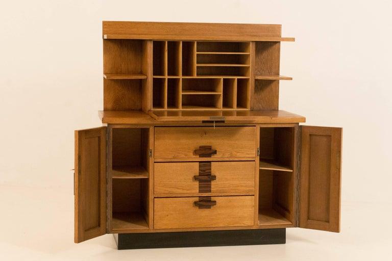 Dutch Oak Art Deco Haagse School Bookcase with Drop-Front Desk by P.E.L.Izeren, 1920s For Sale