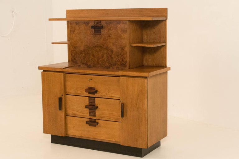 Early 20th Century Oak Art Deco Haagse School Bookcase with Drop-Front Desk by P.E.L.Izeren, 1920s For Sale