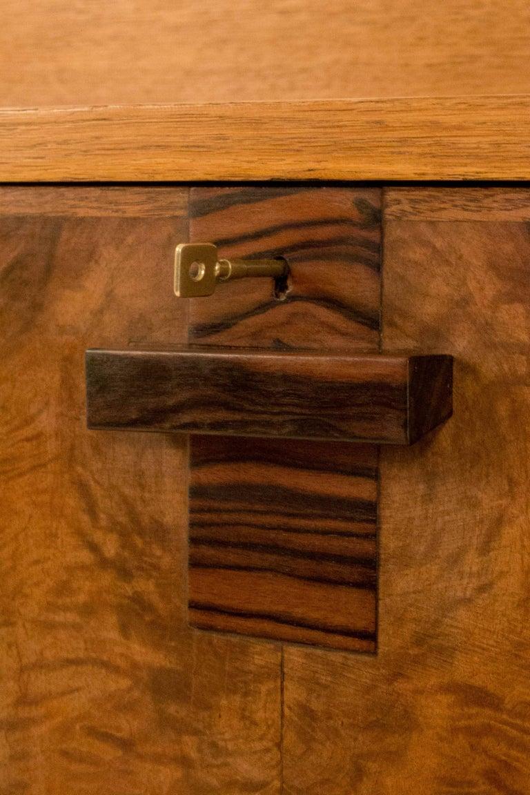 Macassar Oak Art Deco Haagse School Bookcase with Drop-Front Desk by P.E.L.Izeren, 1920s For Sale