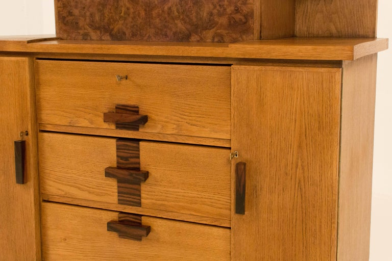 Oak Art Deco Haagse School Bookcase with Drop-Front Desk by P.E.L.Izeren, 1920s For Sale 1