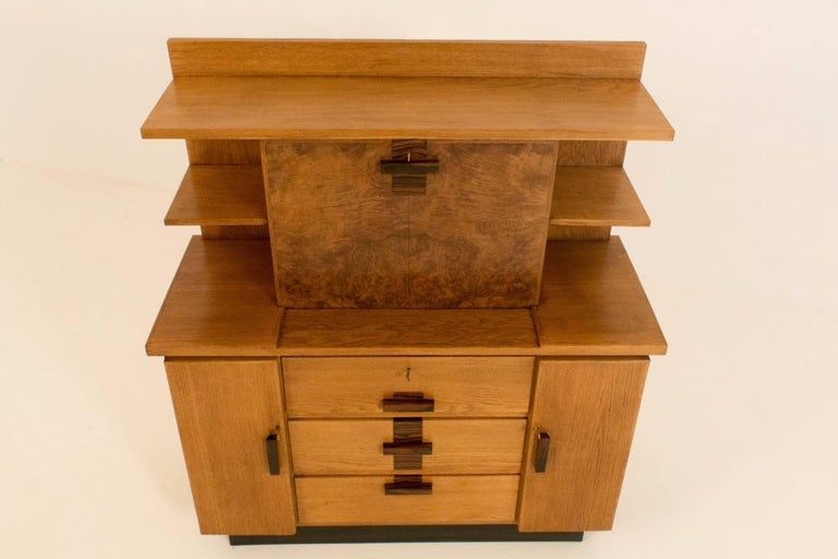Oak Art Deco Haagse School Bookcase with Drop-Front Desk by P.E.L.Izeren, 1920s For Sale 2