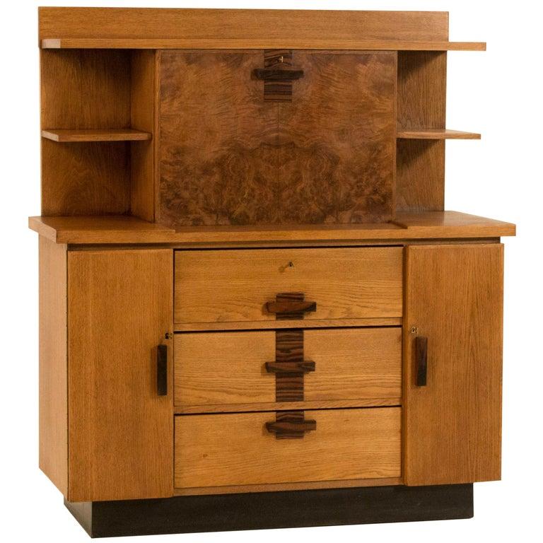 Oak Art Deco Haagse School Bookcase with Drop-Front Desk by P.E.L.Izeren, 1920s For Sale
