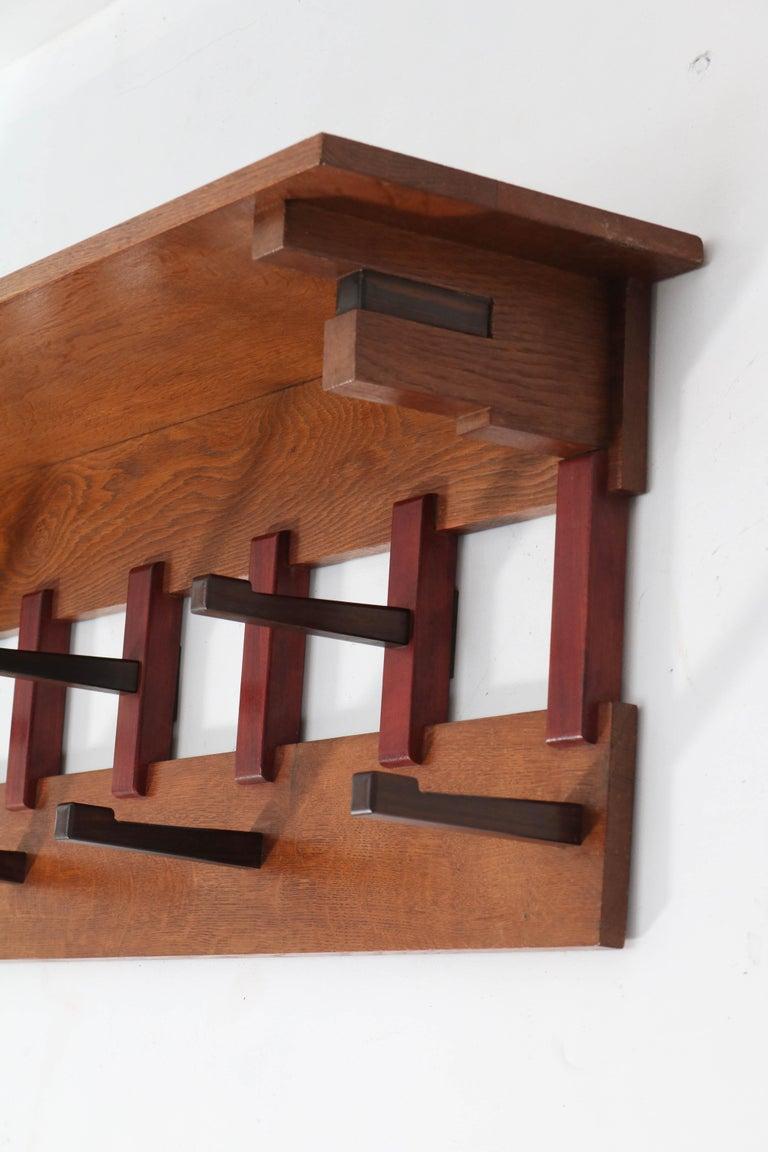 Oak Art Deco Haagse School Coat Rack by P.E.L. Izeren for Genneper Molen, 1920s In Good Condition For Sale In Amsterdam, NL