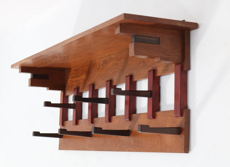 Early 20th Century Oak Art Deco Haagse School Coat Rack by P.E.L. Izeren for Genneper Molen, 1920s For Sale