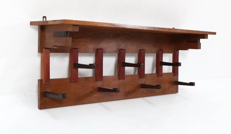 Mahogany Oak Art Deco Haagse School Coat Rack by P.E.L. Izeren for Genneper Molen, 1920s For Sale