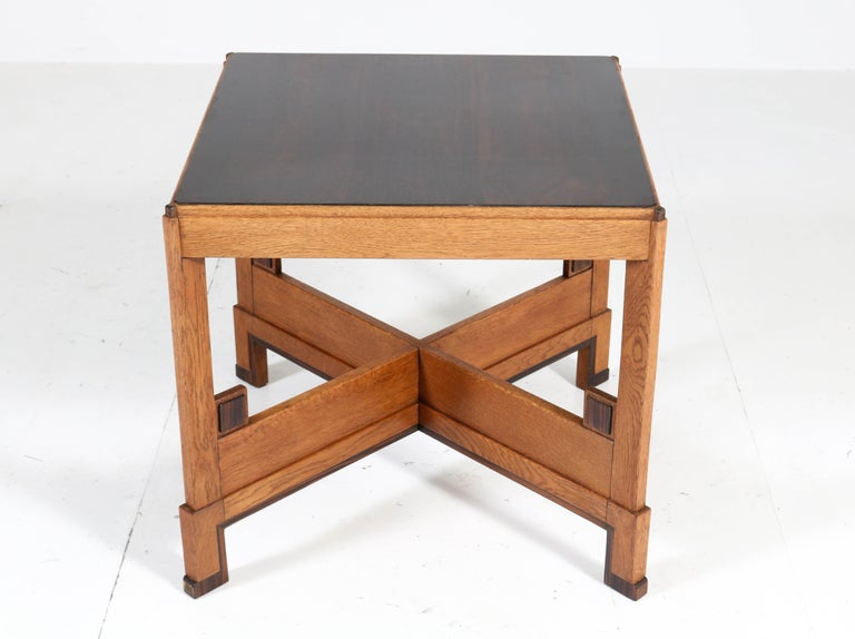 Oak Art Deco Haagse School Coffee Table, 1920s In Good Condition For Sale In Amsterdam, NL