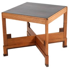 Oak Art Deco Haagse School Coffee Table, 1920s