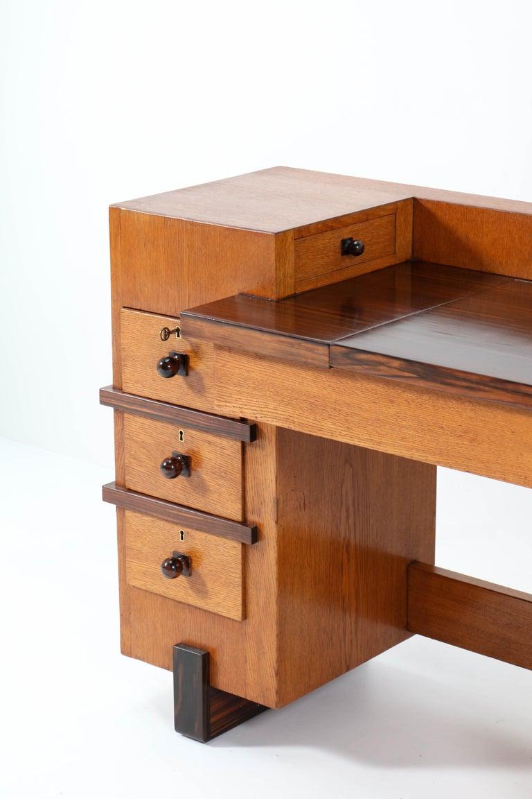 Oak Art Deco Haagse School Desk or Writing Table by Hendrik Wouda for Pander For Sale 4
