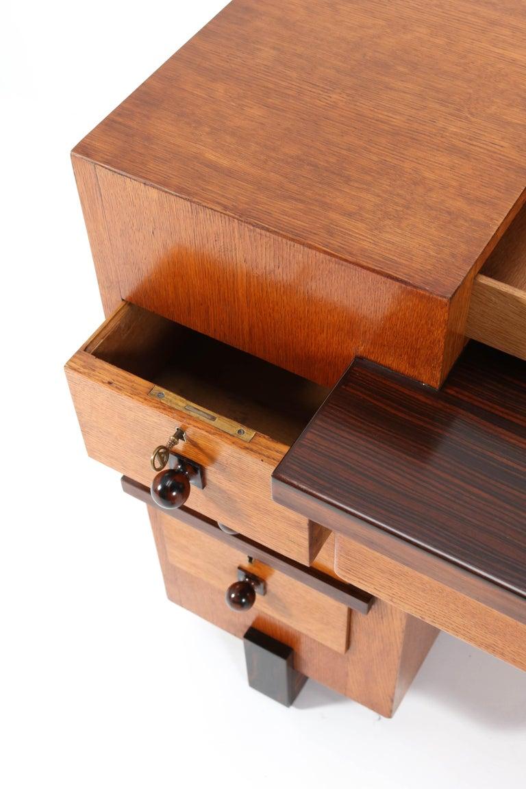 Oak Art Deco Haagse School Desk or Writing Table by Hendrik Wouda for Pander For Sale 5
