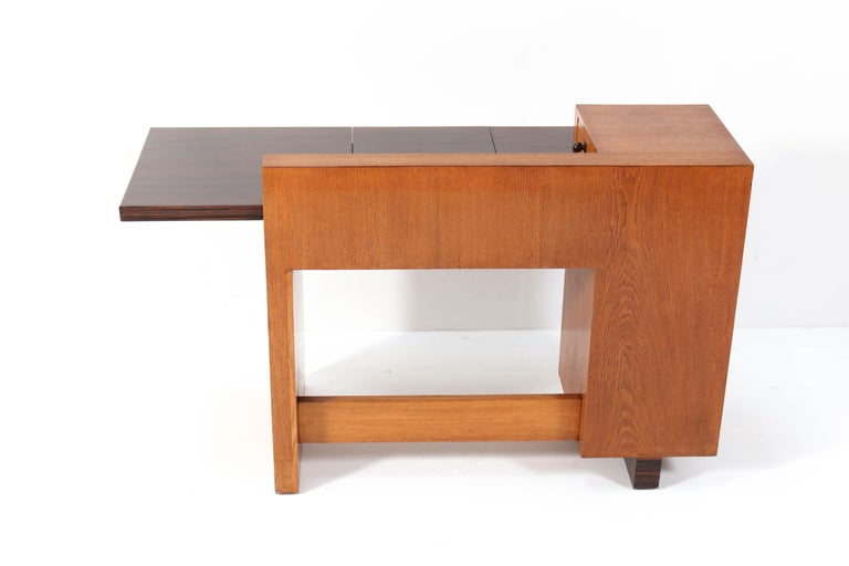 Oak Art Deco Haagse School Desk or Writing Table by Hendrik Wouda for Pander For Sale 6