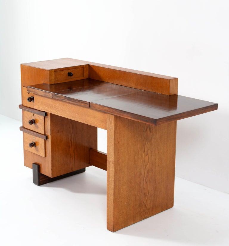 Dutch Oak Art Deco Haagse School Desk or Writing Table by Hendrik Wouda for Pander For Sale