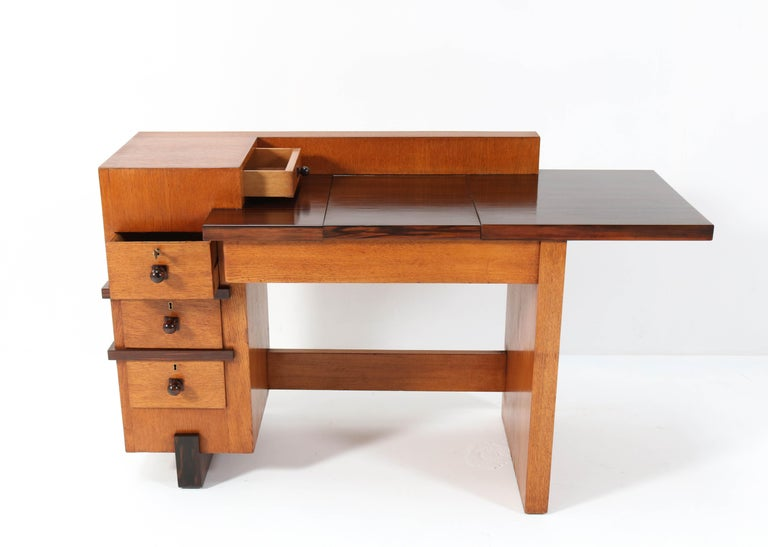Oak Art Deco Haagse School Desk or Writing Table by Hendrik Wouda for Pander In Good Condition For Sale In Amsterdam, NL
