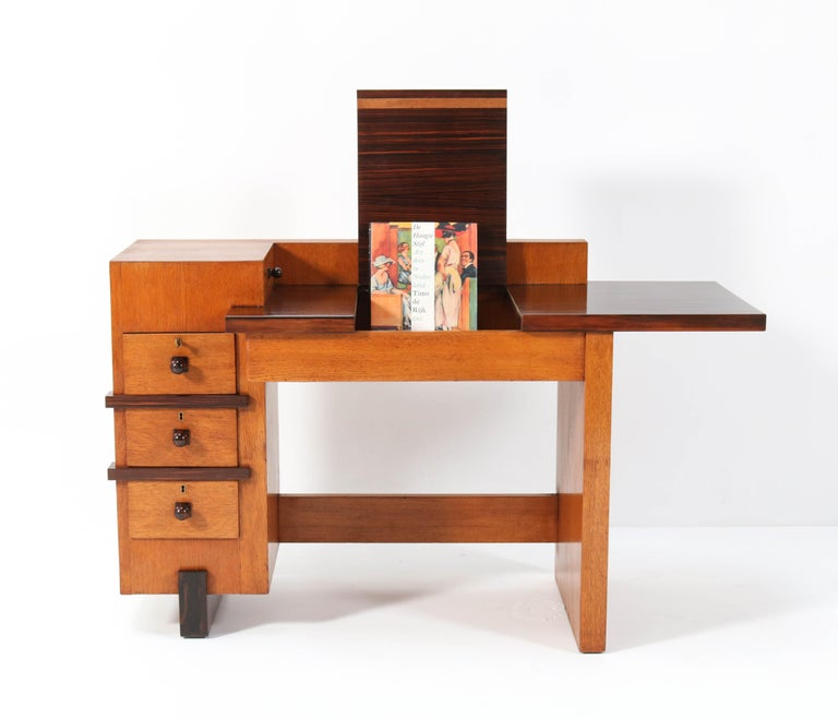 Early 20th Century Oak Art Deco Haagse School Desk or Writing Table by Hendrik Wouda for Pander For Sale