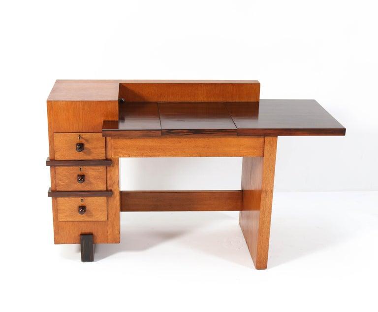 Macassar Oak Art Deco Haagse School Desk or Writing Table by Hendrik Wouda for Pander For Sale