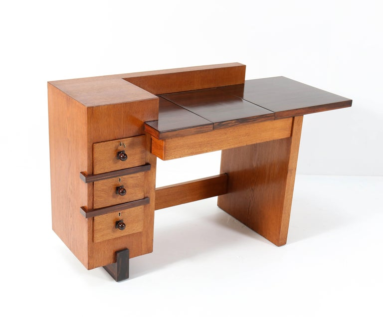 Oak Art Deco Haagse School Desk or Writing Table by Hendrik Wouda for Pander For Sale 1
