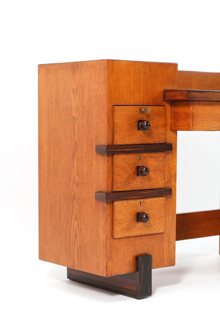 Oak Art Deco Haagse School Desk or Writing Table by Hendrik Wouda for Pander For Sale 2