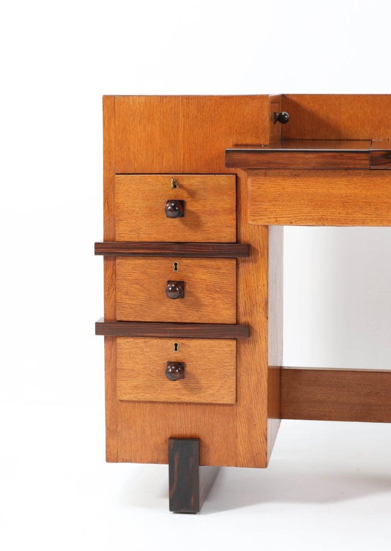 Oak Art Deco Haagse School Desk or Writing Table by Hendrik Wouda for Pander For Sale 3