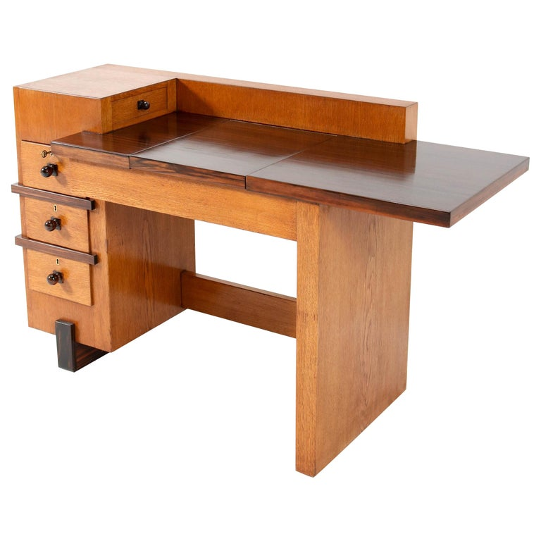Oak Art Deco Haagse School Desk or Writing Table by Hendrik Wouda for Pander For Sale