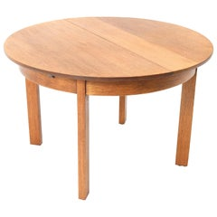 Oak Art Deco Haagse School Extensible Dining Room Table by Henk Wouda for Pander