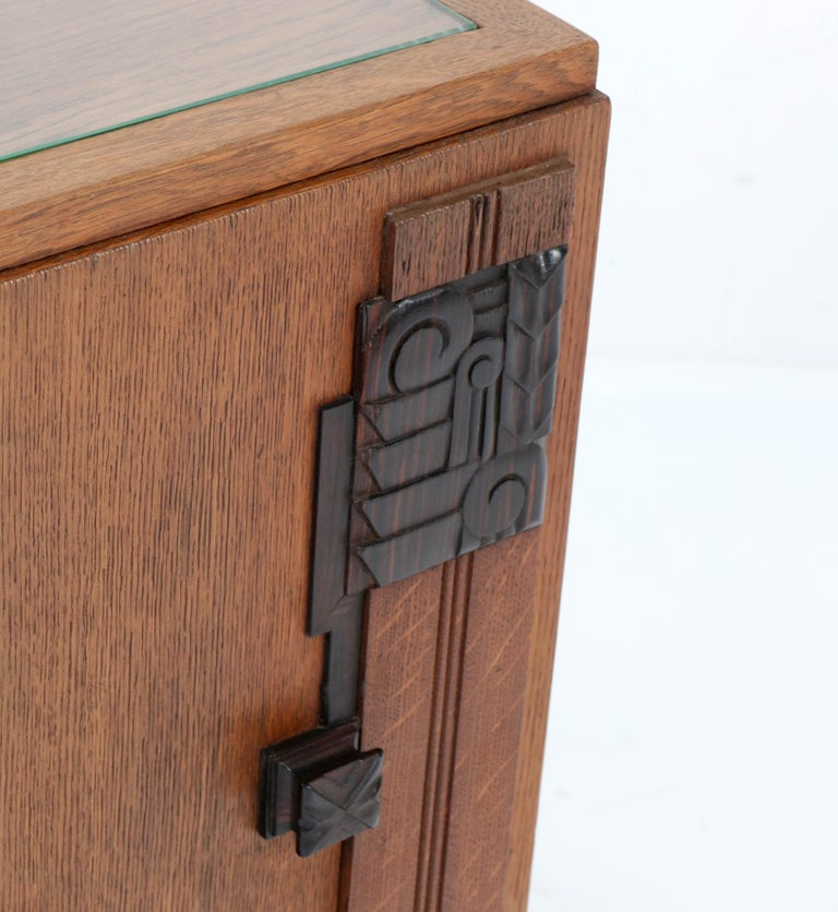 Oak Art Deco Haagse School Nightstand or Bedside Table, 1920s 5