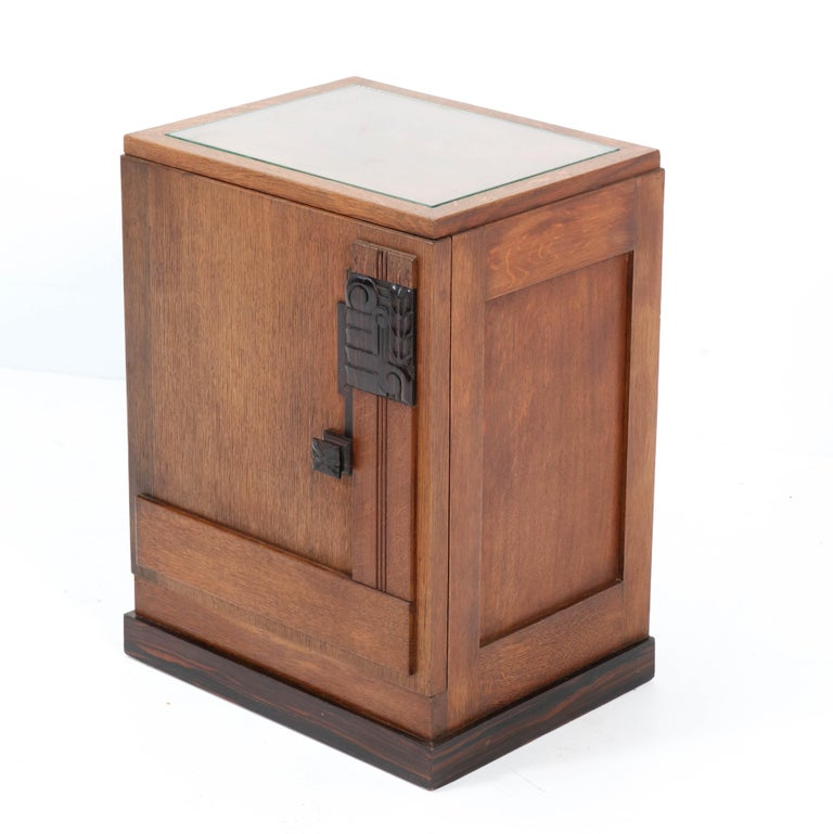 Dutch Oak Art Deco Haagse School Nightstand or Bedside Table, 1920s