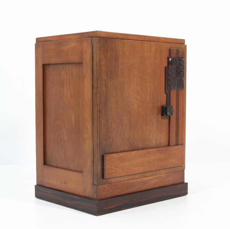 Early 20th Century Oak Art Deco Haagse School Nightstand or Bedside Table, 1920s
