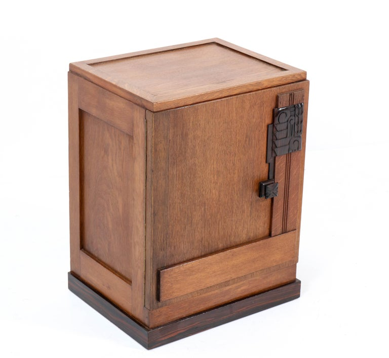 Macassar Oak Art Deco Haagse School Nightstand or Bedside Table, 1920s