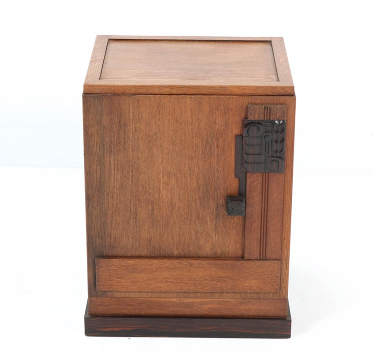 Oak Art Deco Haagse School Nightstand or Bedside Table, 1920s 1