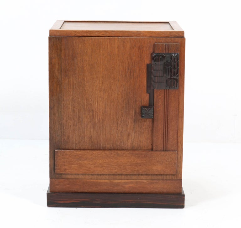 Oak Art Deco Haagse School Nightstand or Bedside Table, 1920s 2