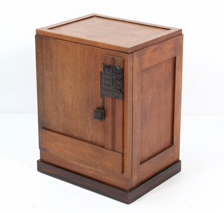 Oak Art Deco Haagse School Nightstand or Bedside Table, 1920s 3