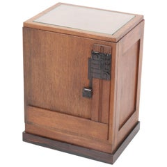 Oak Art Deco Haagse School Nightstand or Bedside Table, 1920s