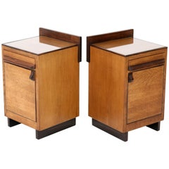 Oak Art Deco Haagse School Nightstands or Bedside Tables by Anton Lucas, 1920s