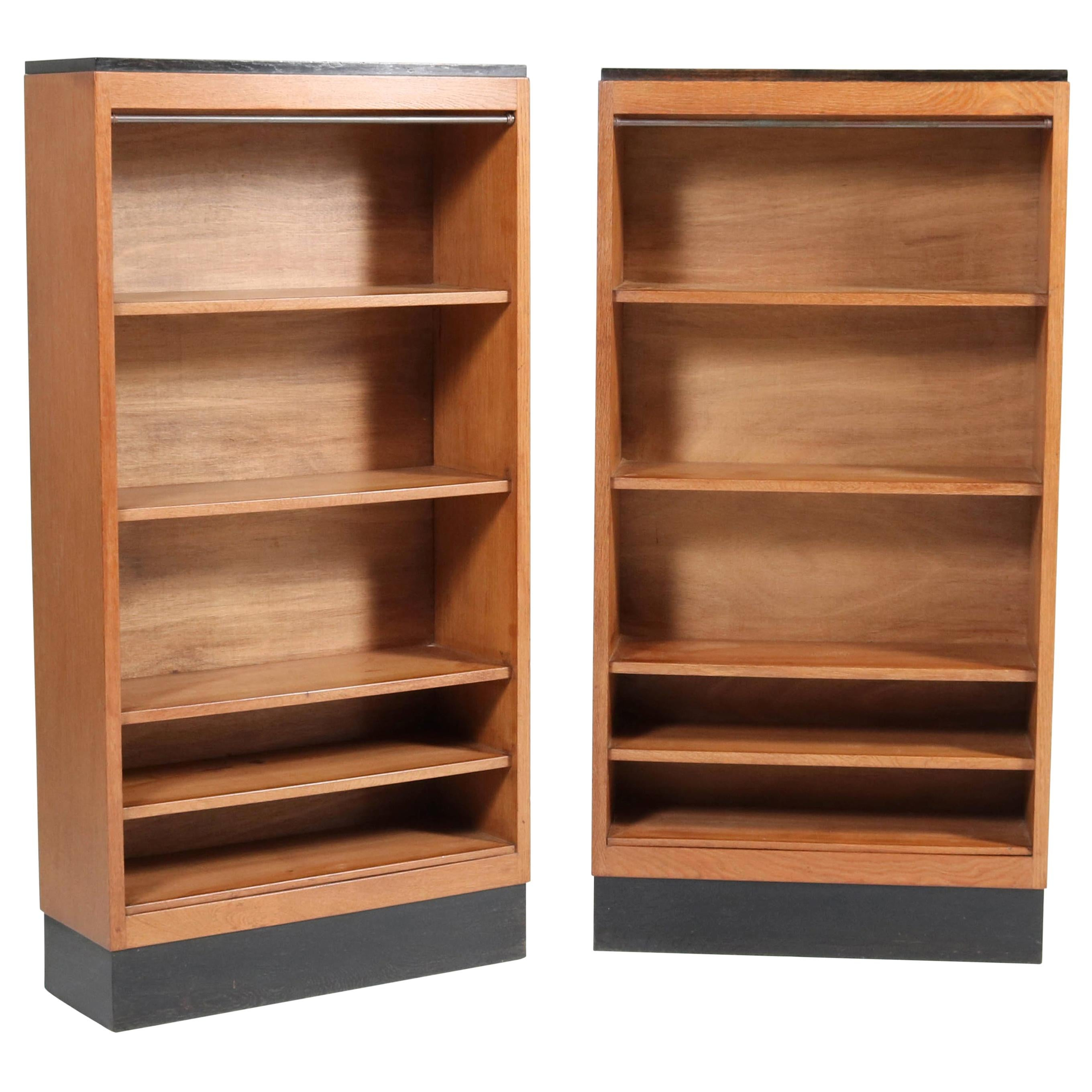 Oak Art Deco Haagse School Open Bookcases by H. Fels for L.O.V. Oosterbeek, 1924
