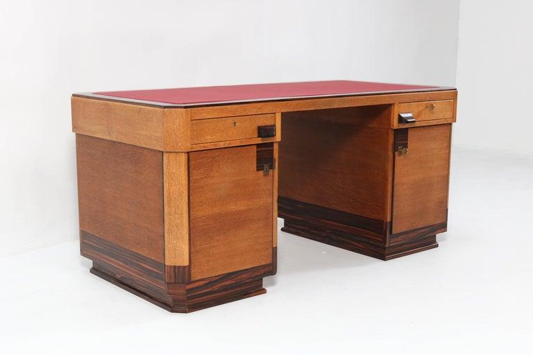 Stunning and rare Art Deco Haagse School pedestal desk.