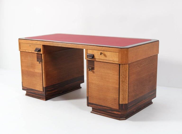 Dutch Oak Art Deco Haagse School Pedestal Desk by Anton Lucas, 1920s For Sale