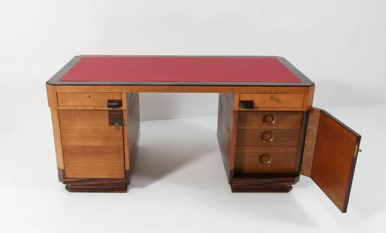 Oak Art Deco Haagse School Pedestal Desk by Anton Lucas, 1920s In Good Condition For Sale In Amsterdam, NL