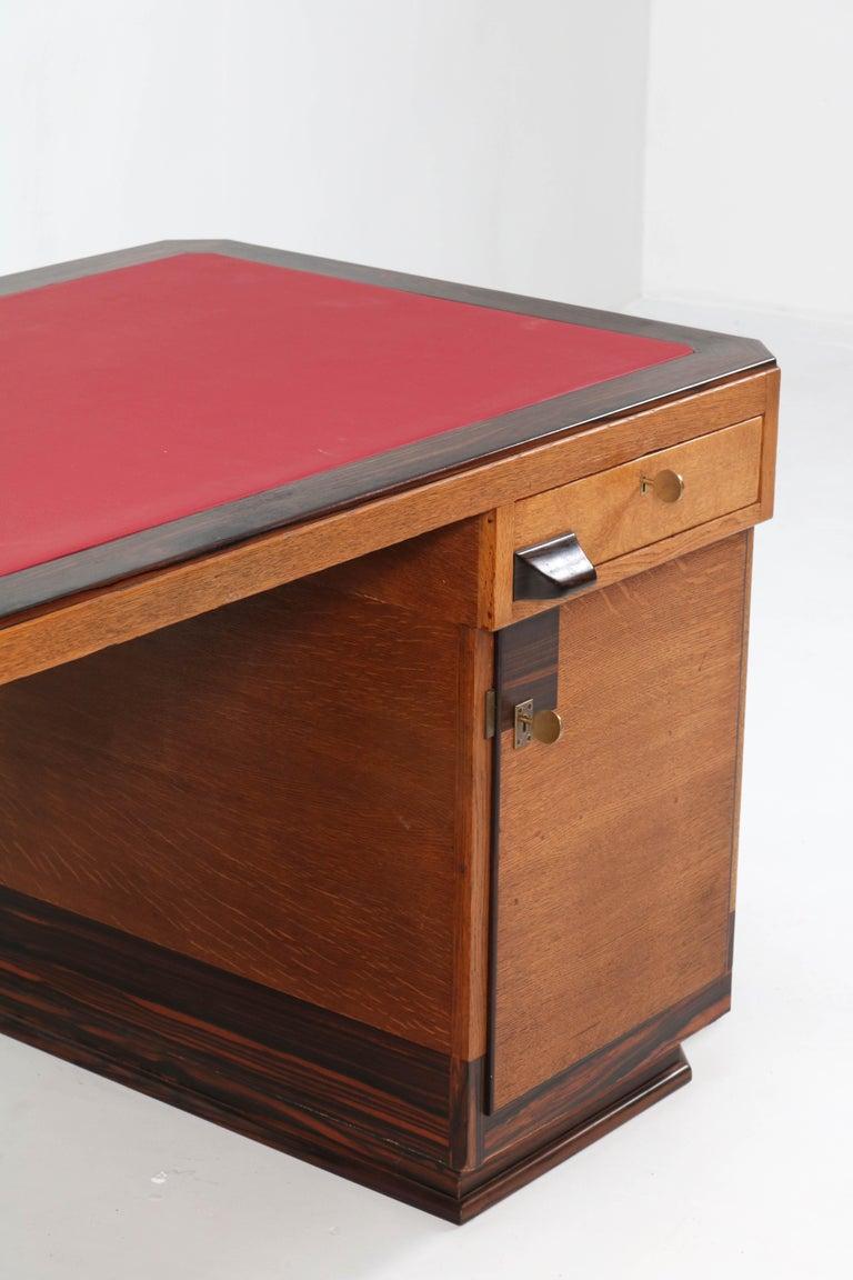Early 20th Century Oak Art Deco Haagse School Pedestal Desk by Anton Lucas, 1920s For Sale