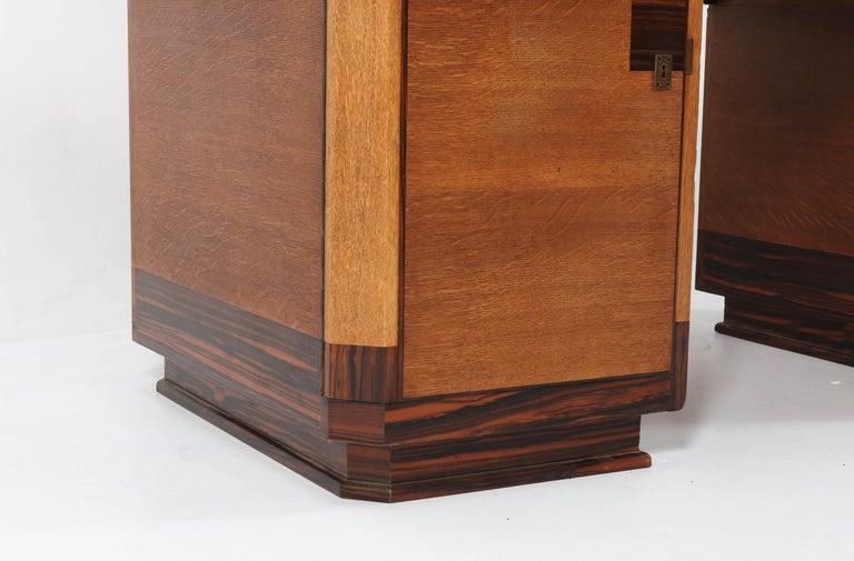 Faux Leather Oak Art Deco Haagse School Pedestal Desk by Anton Lucas, 1920s For Sale