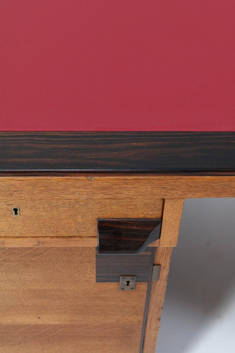 Oak Art Deco Haagse School Pedestal Desk by Anton Lucas, 1920s For Sale 1