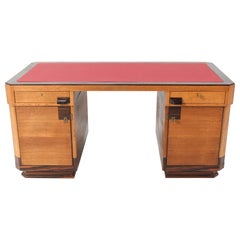Oak Art Deco Haagse School Pedestal Desk by Anton Lucas, 1920s